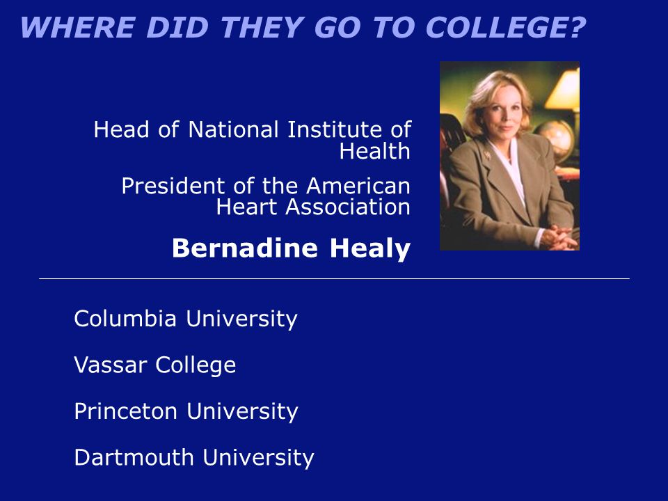 WHERE DID THEY GO TO COLLEGE? Princeton University Bernadine Healy Vassar College Columbia University Dartmouth University Head of National Institute