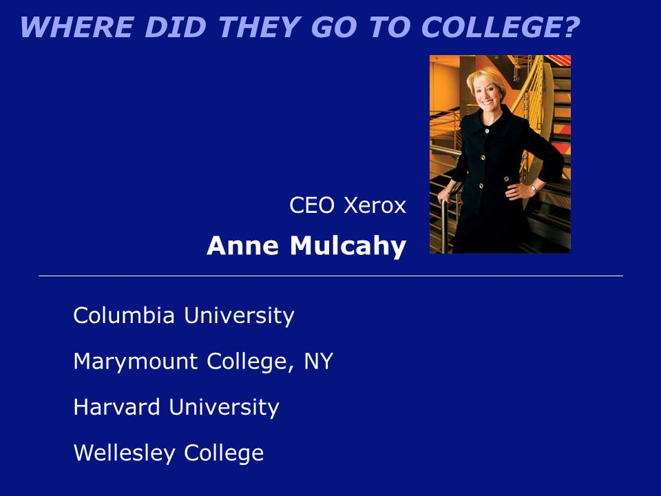 WHERE DID THEY GO TO COLLEGE? Harvard University CEO Xerox Anne Mulcahy Marymount College, NY Columbia University Wellesley College