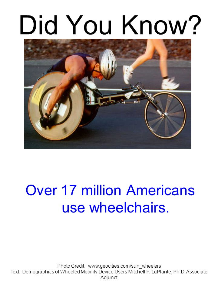 Did You Know. Over 17 million Americans use wheelchairs.