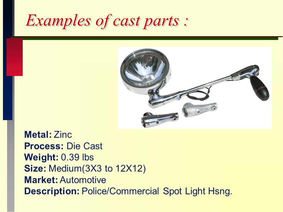 Examples of cast parts : Metal: Zinc Process: Die Cast Weight: 0.39 lbs Size: Medium(3X3 to 12X12) Market: Automotive Description: Police/Commercial Spot Light Hsng.