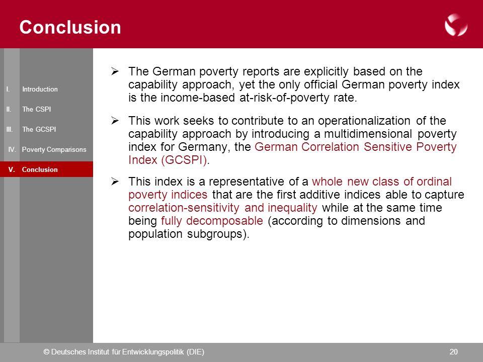 © Deutsches Institut für Entwicklungspolitik (DIE)20 Conclusion I.