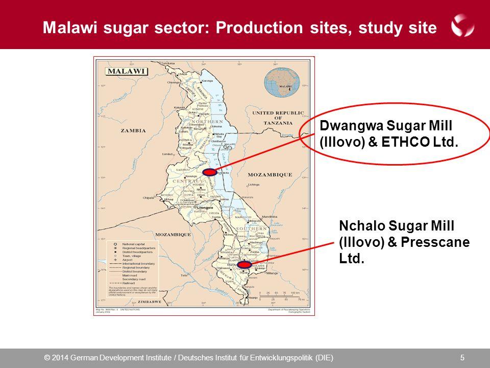 © 2014 German Development Institute / Deutsches Institut für Entwicklungspolitik (DIE) Malawi sugar sector: Production sites, study site 5 Dwangwa Sugar Mill (Illovo) & ETHCO Ltd.