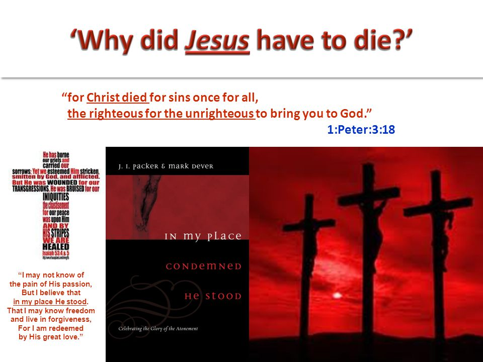 """for Christ died for sins once for all, the righteous for the unrighteous to bring you to God."" 1:Peter:3:18 ""I may not know of the pain of His passio"