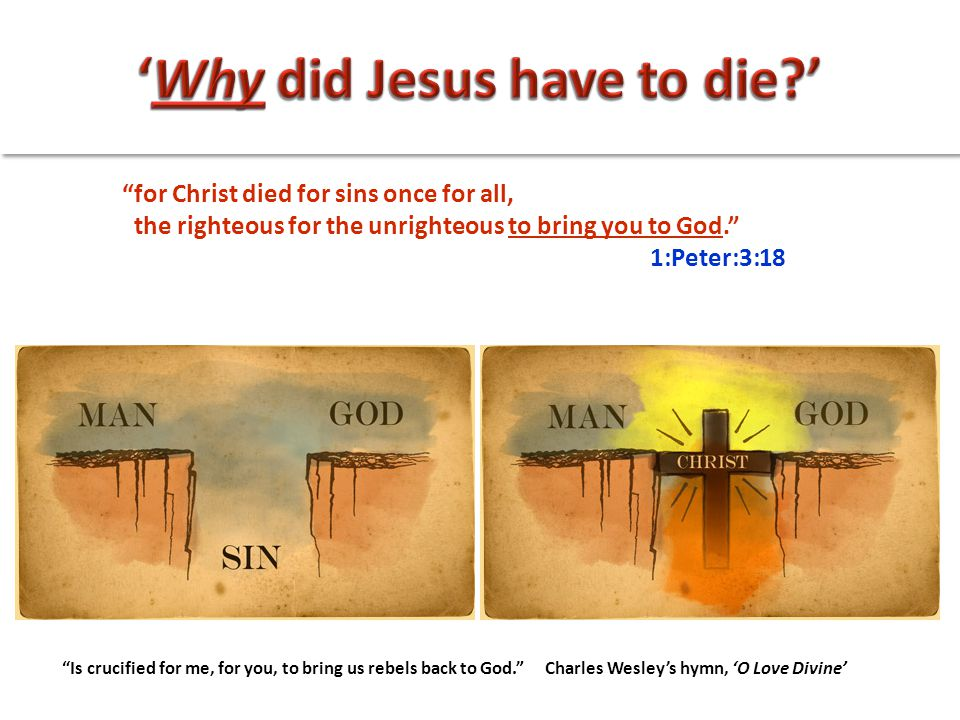 """for Christ died for sins once for all, the righteous for the unrighteous to bring you to God."" 1:Peter:3:18 ""Is crucified for me, for you, to bring u"