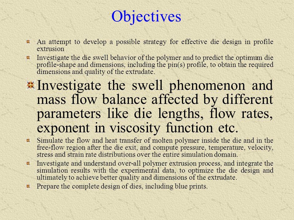 Finite element 3-D domain and half of extrudate profile mesh Melt flow direction 19,479 elements Skewness < 0.5