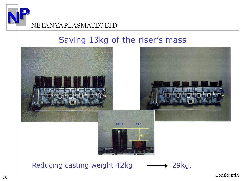 NETANYA PLASMATEC LTD Confidential 10 Saving 13kg of the riser's mass Reducing casting weight 42kg 29kg.