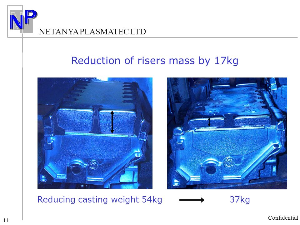 NETANYA PLASMATEC LTD Confidential 11 Reduction of risers mass by 17kg Reducing casting weight 54kg 37kg