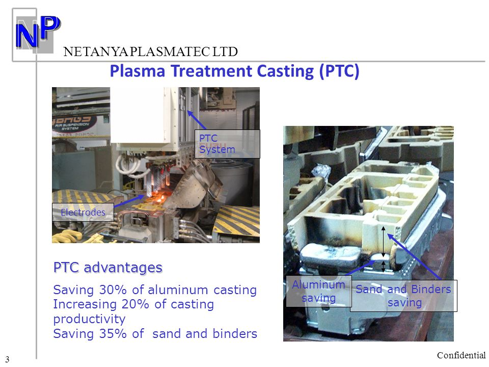NETANYA PLASMATEC LTD Confidential 4 The PTC process applies plasma arc during solidification process The rotating plasma arc moves along a prescribed path, defined by a special electrode The PTC Process Confidential