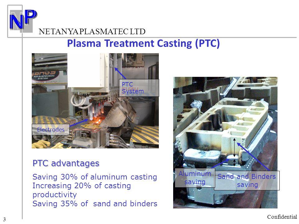 NETANYA PLASMATEC LTD Confidential 3 Plasma Treatment Casting (PTC) PTC advantages Saving 30% of aluminum casting Increasing 20% of casting productivi