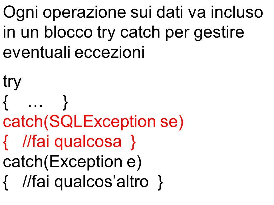 Ogni operazione sui dati va incluso in un blocco try catch per gestire eventuali eccezioni try { … } catch(SQLException se) { //fai qualcosa } catch(Exception e) { //fai qualcos'altro }