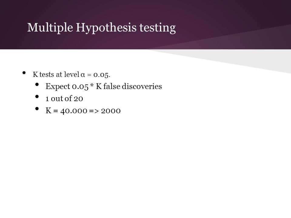 Multiple Hypothesis testing K tests at level α = 0.05. Expect 0.05 * K false discoveries 1 out of 20 K = 40.000 => 2000