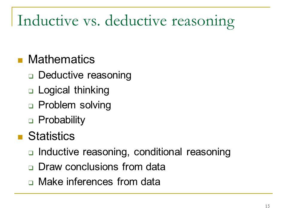 15 Inductive vs. deductive reasoning Mathematics  Deductive reasoning  Logical thinking  Problem solving  Probability Statistics  Inductive reaso