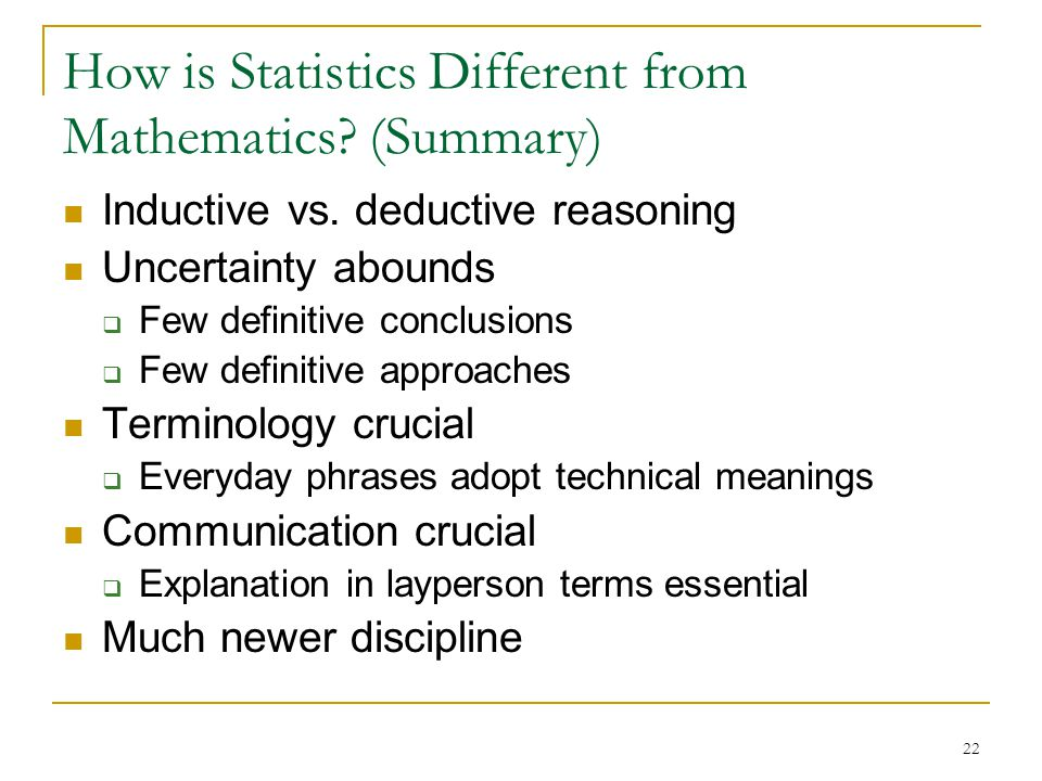 22 How is Statistics Different from Mathematics. (Summary) Inductive vs.