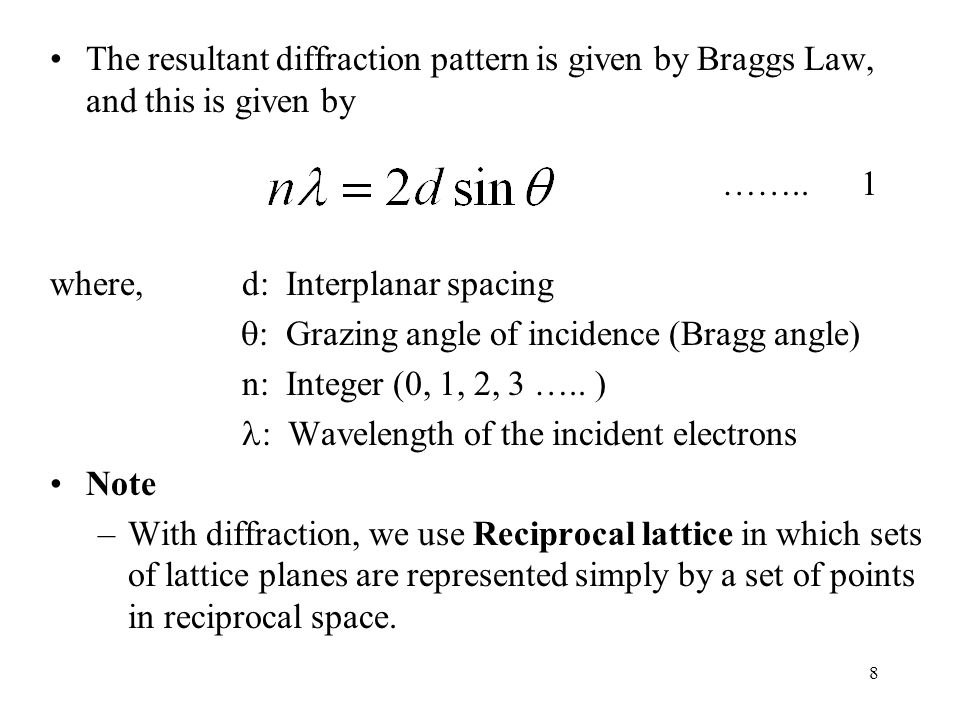 8 The resultant diffraction pattern is given by Braggs Law, and this is given by …….. 1 where, d: Interplanar spacing  : Grazing angle of incidence (