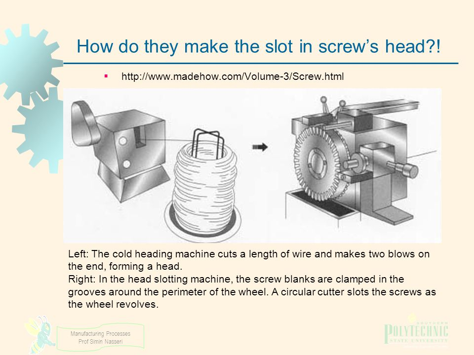 Manufacturing Processes Prof Simin Nasseri How do they make the slot in screw's head?!  http://www.madehow.com/Volume-3/Screw.html Left: The cold hea
