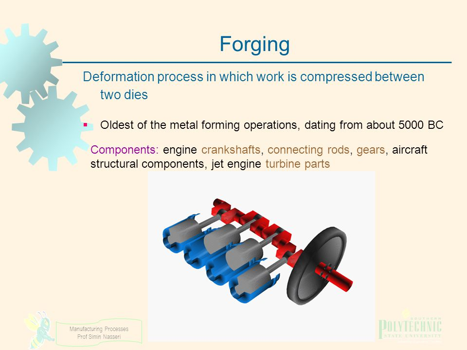 Manufacturing Processes Prof Simin Nasseri Forging Deformation process in which work is compressed between two dies  Oldest of the metal forming oper