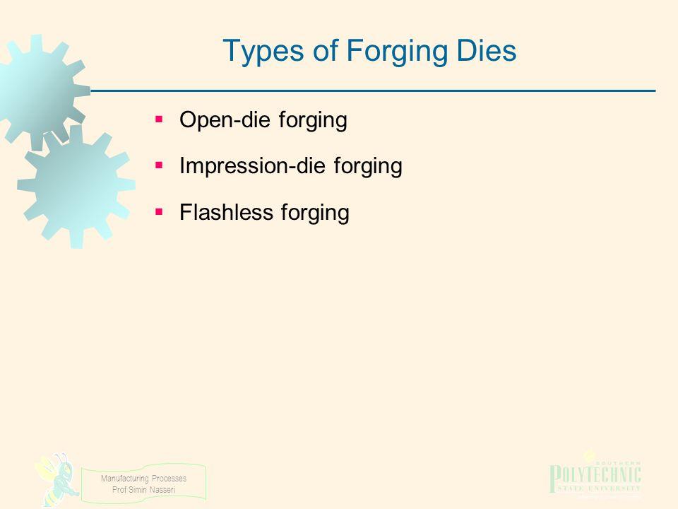 Manufacturing Processes Prof Simin Nasseri Types of Forging Dies  Open ‑ die forging  Impression ‑ die forging  Flashless forging