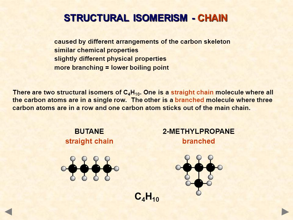 DIFFERENCES BETWEEN CHAIN ISOMERS ChemicalIsomers show similar chemical properties because the same functional group is present.