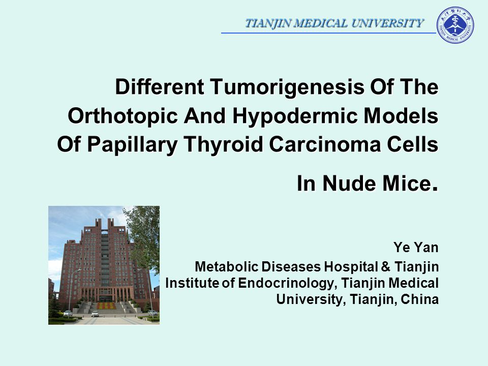 TIANJIN MEDICAL UNIVERSITY Different Tumorigenesis Of The Orthotopic And Hypodermic Models Of Papillary Thyroid Carcinoma Cells In Nude Mice. Ye Yan M