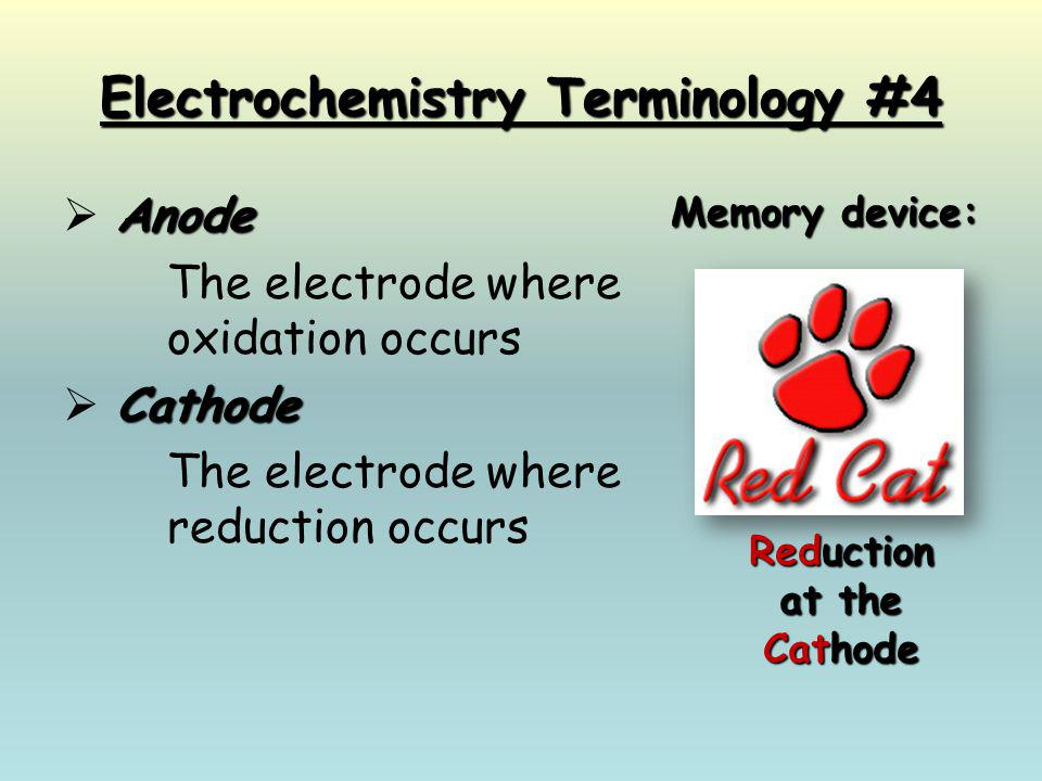 Electrochemistry Terminology #4 Anode  Anode The electrode where oxidation occurs Cathode  Cathode The electrode where reduction occurs Memory devic