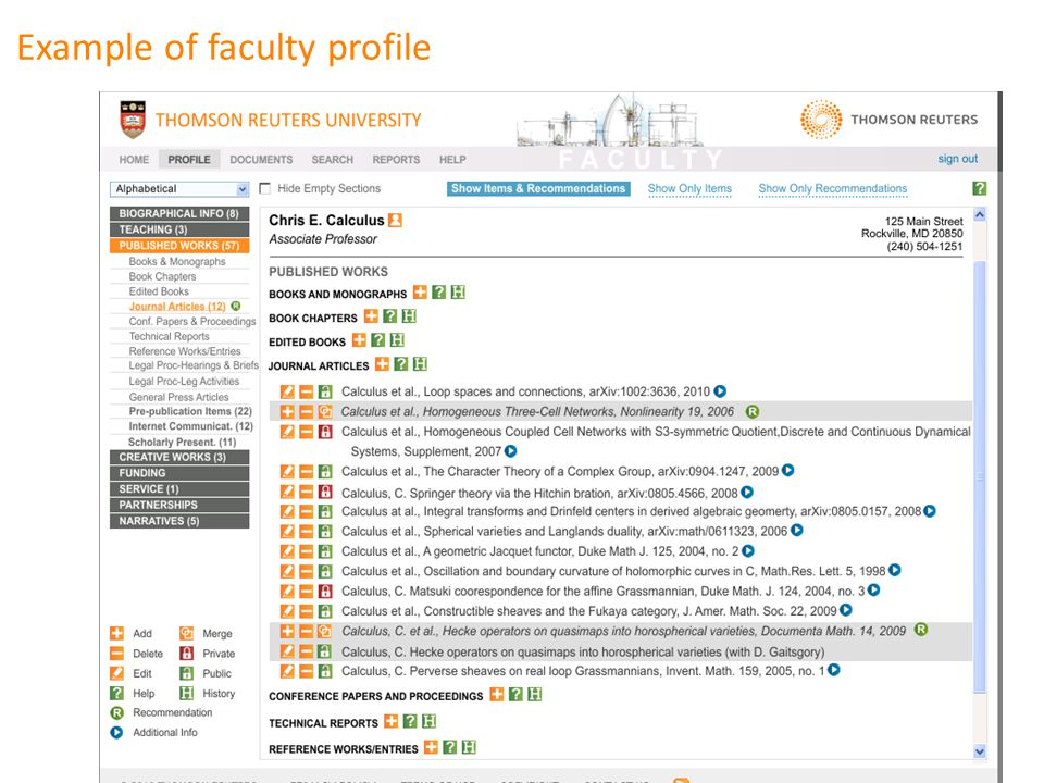 Example of faculty profile