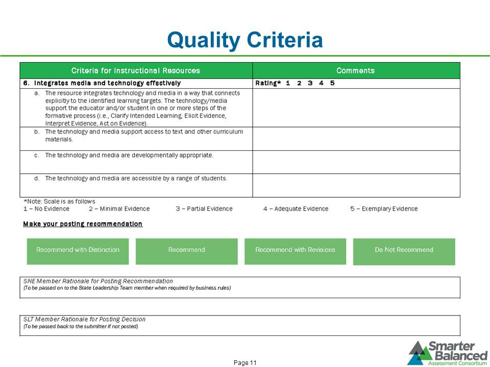 Quality Criteria Page 11