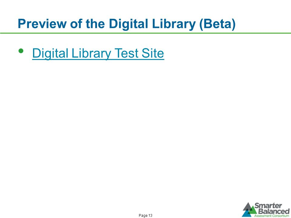 Preview of the Digital Library (Beta) Digital Library Test Site Page 13