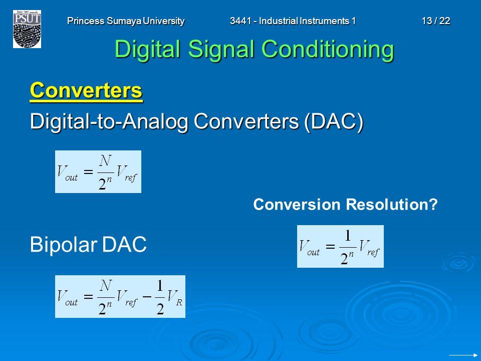 Princess Sumaya University3441 - Industrial Instruments 113 / 22 Digital Signal Conditioning Converters Digital-to-Analog Converters (DAC) Bipolar DAC