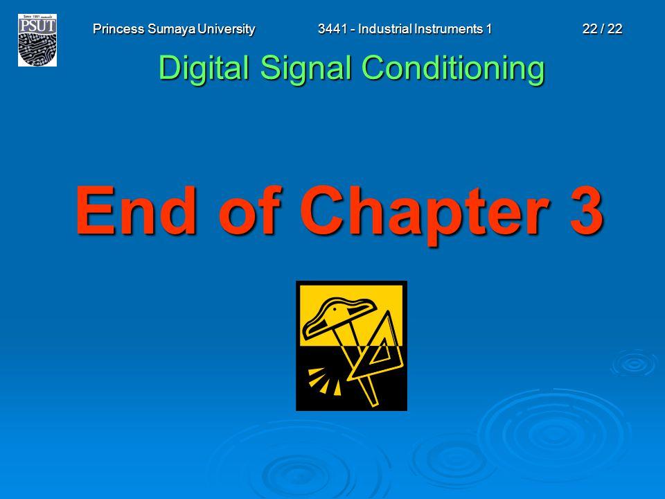 Princess Sumaya University3441 - Industrial Instruments 122 / 22 End of Chapter 3 Digital Signal Conditioning