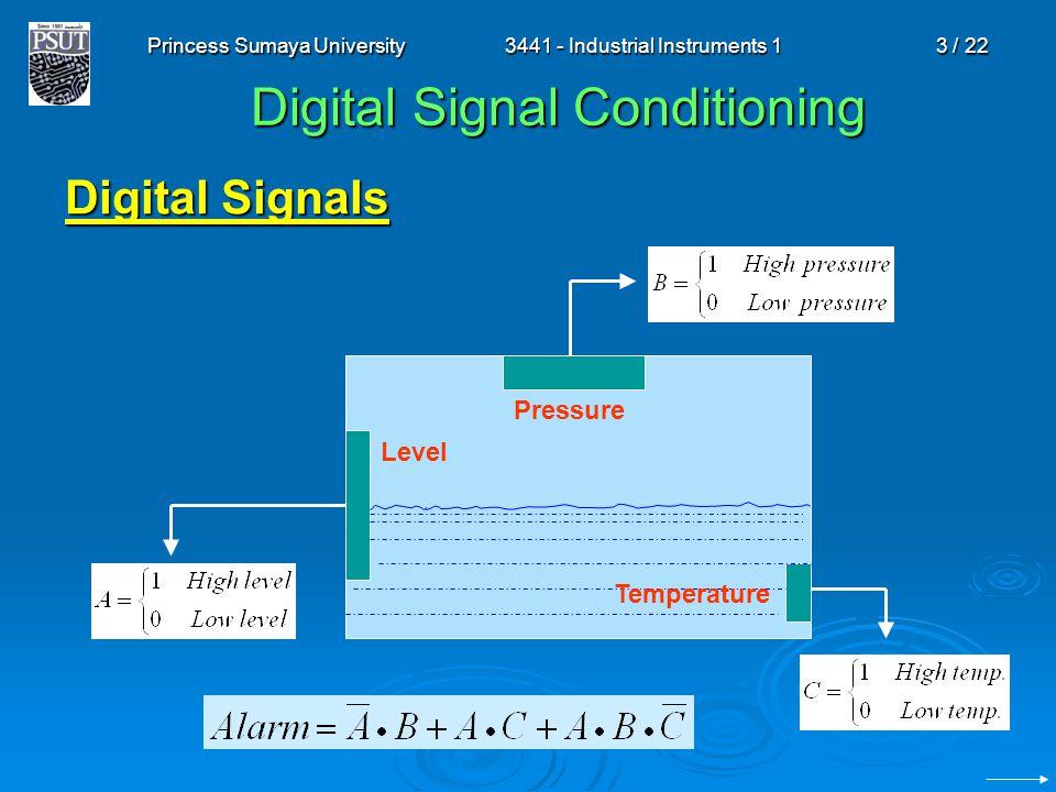 Princess Sumaya University3441 - Industrial Instruments 13 / 22 Digital Signal Conditioning Digital Signals Level Pressure Temperature