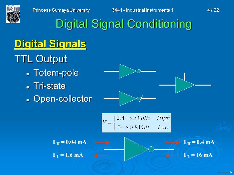 Princess Sumaya University3441 - Industrial Instruments 14 / 22 Digital Signal Conditioning Digital Signals TTL Output Totem-pole Totem-pole Tri-state