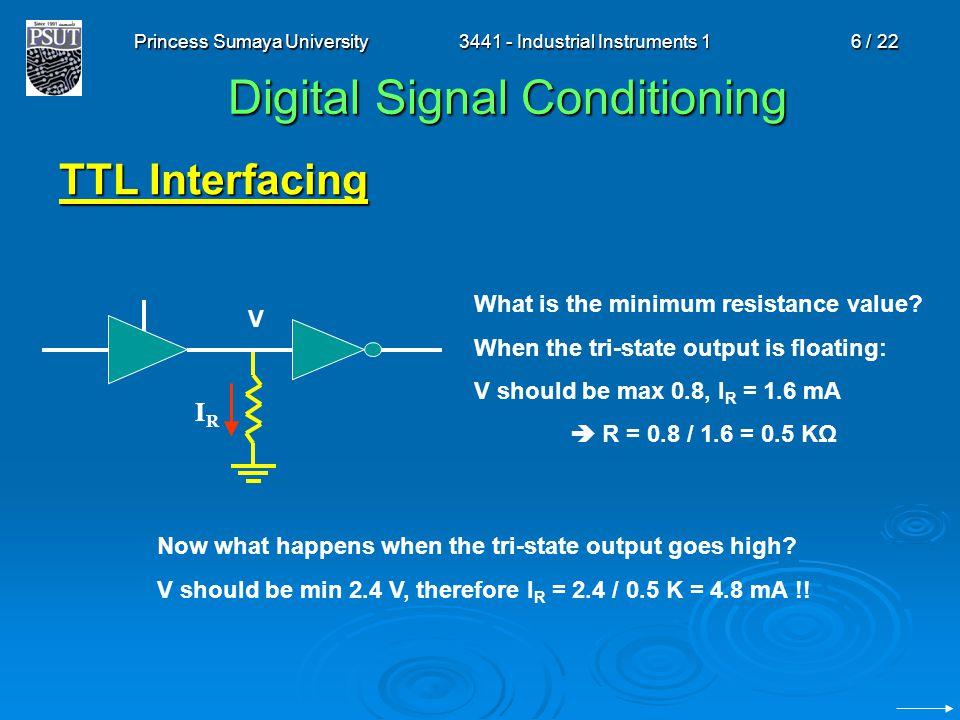 Princess Sumaya University3441 - Industrial Instruments 16 / 22 Digital Signal Conditioning TTL Interfacing IRIR What is the minimum resistance value?