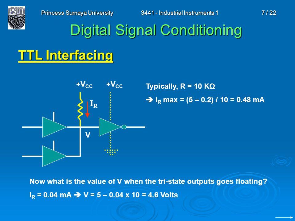 Princess Sumaya University3441 - Industrial Instruments 17 / 22 Digital Signal Conditioning TTL Interfacing IRIR Typically, R = 10 KΩ  I R max = (5 –
