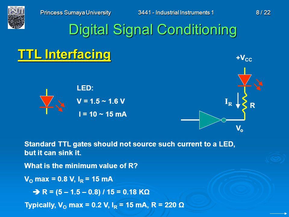 Princess Sumaya University3441 - Industrial Instruments 18 / 22 Digital Signal Conditioning TTL Interfacing IRIR LED: V = 1.5 ~ 1.6 V I = 10 ~ 15 mA +