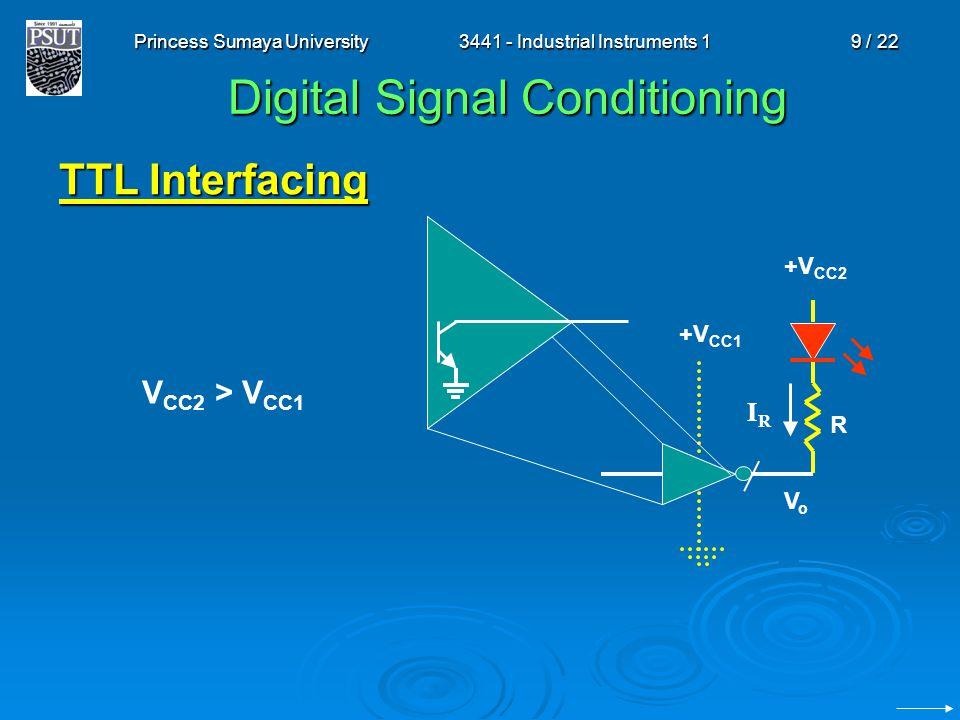 Princess Sumaya University3441 - Industrial Instruments 19 / 22 Digital Signal Conditioning TTL Interfacing IRIR +V CC2 V CC2 > V CC1 VoVo R +V CC1