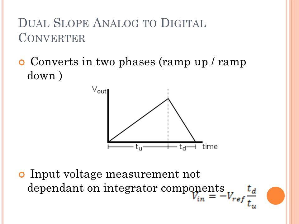 D UAL S LOPE A NALOG TO D IGITAL C ONVERTER Converts in two phases (ramp up / ramp down ) Input voltage measurement not dependant on integrator compon
