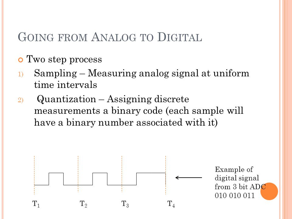 G OING FROM A NALOG TO D IGITAL Two step process 1) Sampling – Measuring analog signal at uniform time intervals 2) Quantization – Assigning discrete