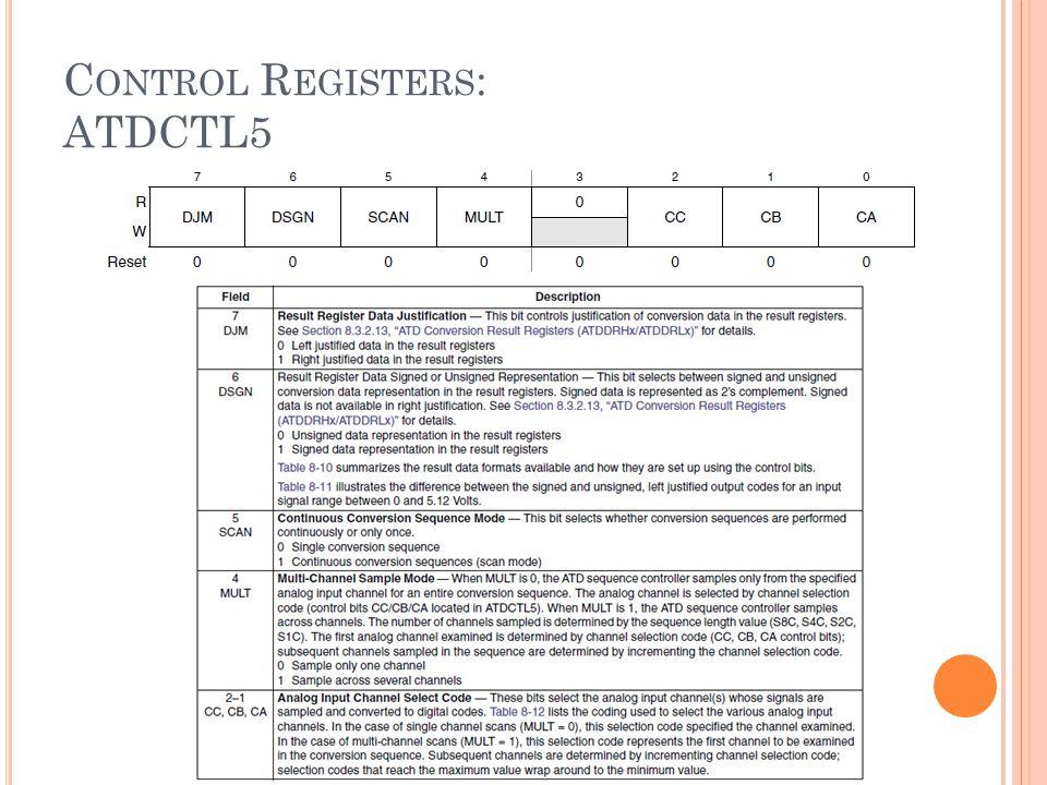 C ONTROL R EGISTERS : ATDCTL5