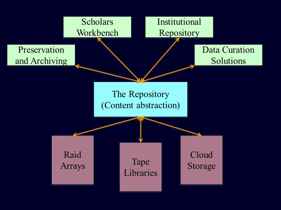 Preservation and Archiving Scholars Workbench Scholars Workbench Institutional Repository Institutional Repository Data Curation Solutions Data Curation Solutions The Repository (Content abstraction) The Repository (Content abstraction) Raid Arrays Raid Arrays Tape Libraries Tape Libraries Cloud Storage Cloud Storage