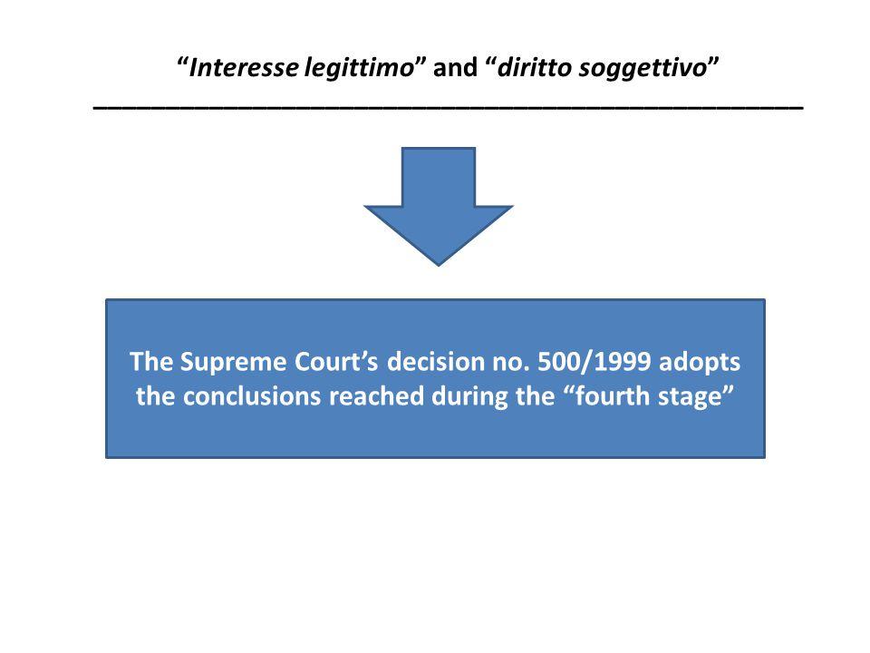 Interesse legittimo and diritto soggettivo _________________________________________________ The Supreme Court's decision no.