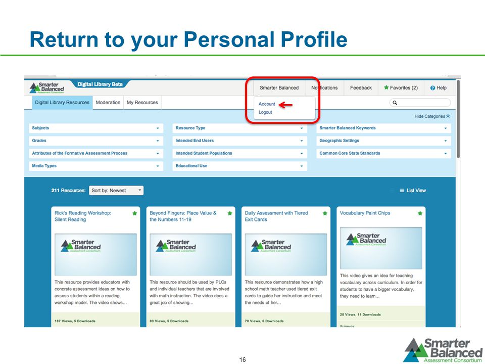 Return to your Personal Profile 16