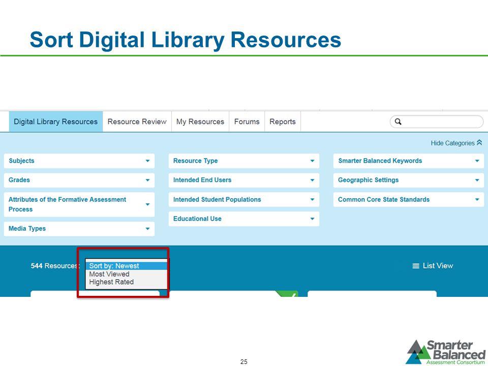 25 Sort Digital Library Resources