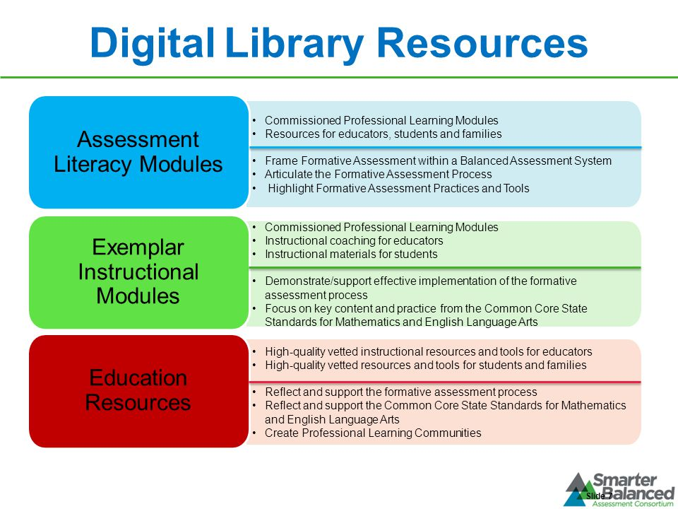 Digital Library Resources Slide 7 Commissioned Professional Learning Modules Resources for educators, students and families Frame Formative Assessment
