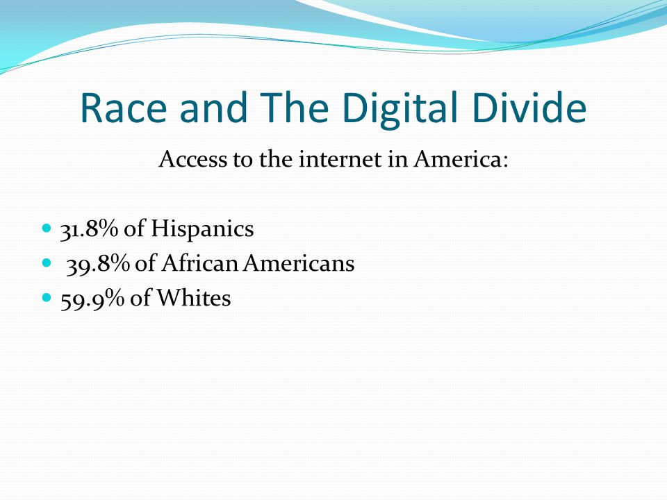 Race and The Digital Divide Access to the internet in America: 31.8% of Hispanics 39.8% of African Americans 59.9% of Whites