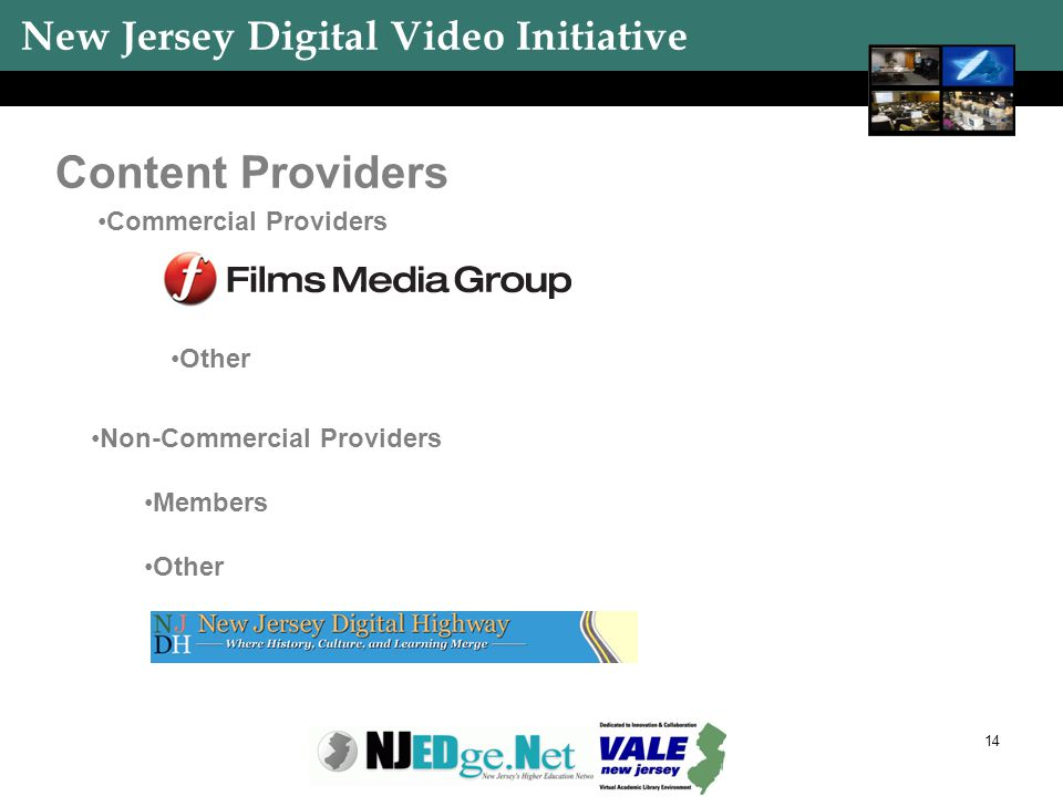 New Jersey Digital Video Initiative 14 Content Providers Commercial Providers Other Non-Commercial Providers Members Other