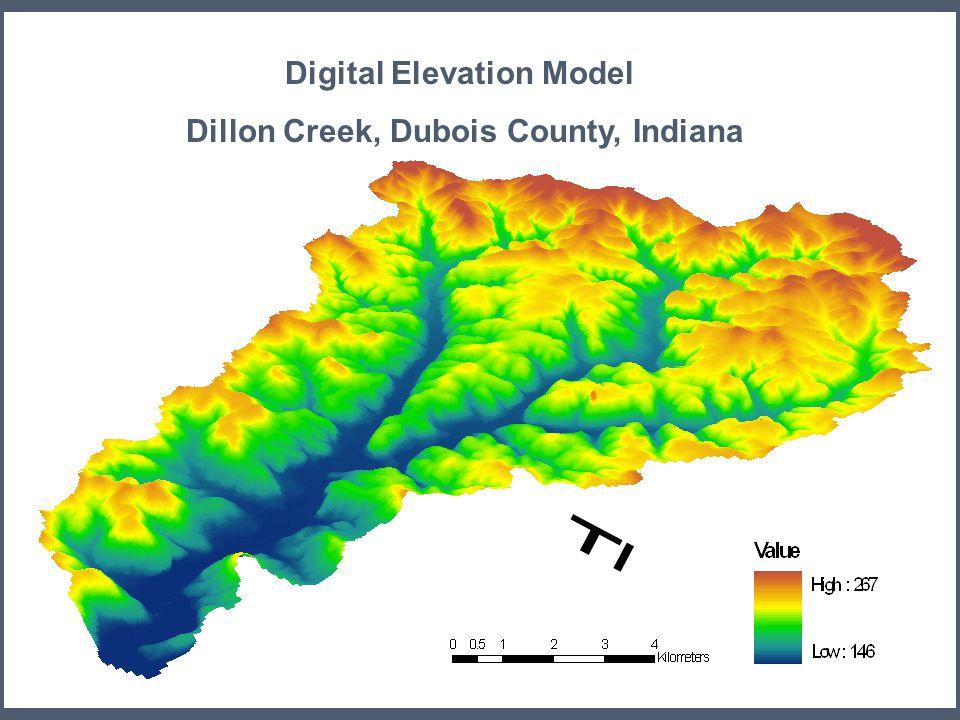 19 Digital Elevation Model Dillon Creek, Dubois County, Indiana Elevation m m