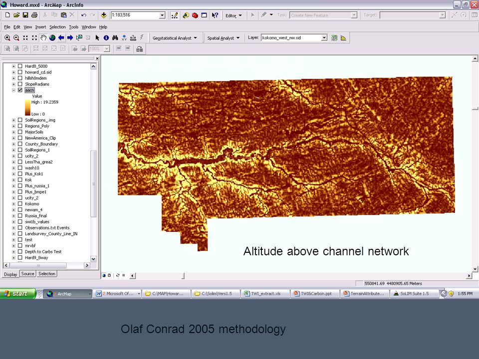 Altitude above channel network (m) Olaf Conrad 2005 methodology Altitude above channel network