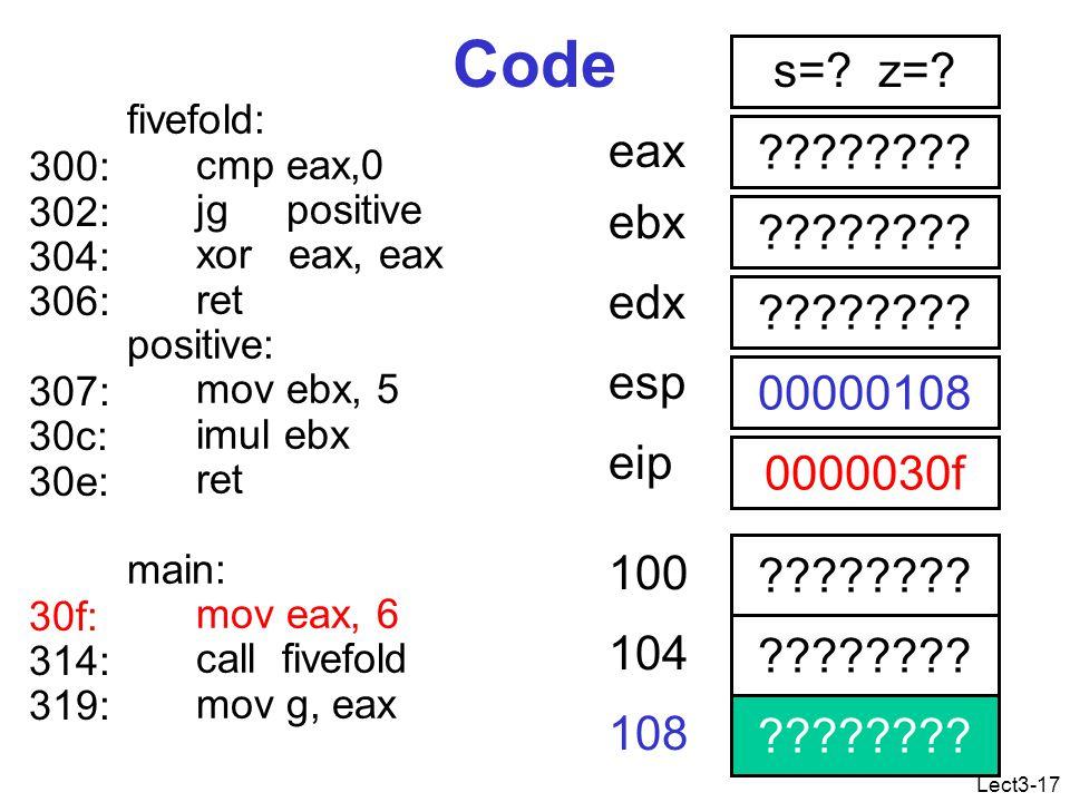 Lect3-17 Code fivefold: cmp eax,0 jg positive xor eax, eax ret positive: mov ebx, 5 imul ebx ret main: mov eax, 6 call fivefold mov g, eax .