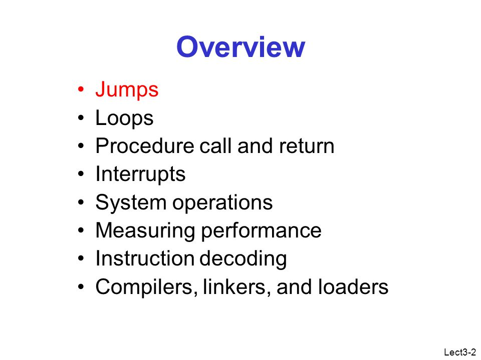 Lect3-43 Benchmark programs The only reliable performance metrics = execution time Always mention the program + input.