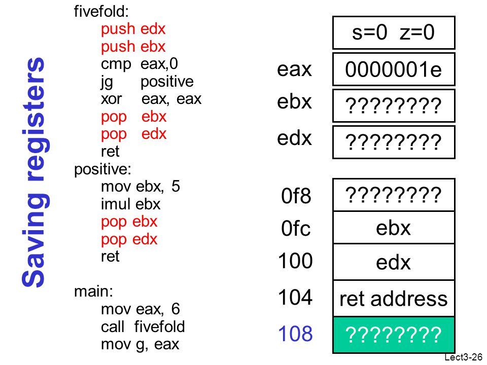 Lect3-26 Saving registers fivefold: push edx push ebx cmp eax,0 jg positive xor eax, eax pop ebx pop edx ret positive: mov ebx, 5 imul ebx pop ebx pop edx ret main: mov eax, 6 call fivefold mov g, eax 0000001e eax .
